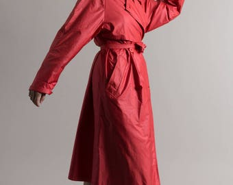 90s Coral Lightweight Midi Trench Coat