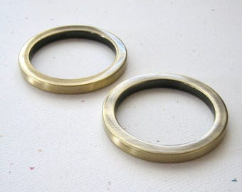 "1 1/2"" Round D Rings Antique Brass Plated 1.5"" Flat Circle Rings for 1"" Straps - set of 2"