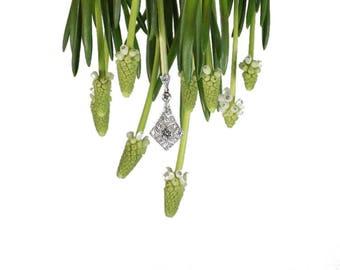 Bridal pendant, wedding pendant, Art Deco pendant, pendant, diamond pendant, vintage diamond pendant, geometric pendant, platinum pendant