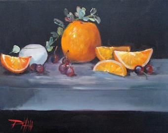 Oranges and Egg Oil Painting still life 11x14 Delilah Art