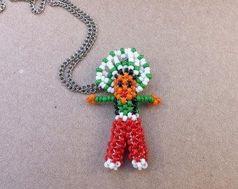 Native American Seed Necklace Seed Bead Pendant Green White Red Black Orange Vintage Pendant on Chain Necklace