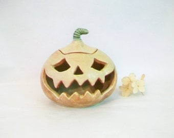 Halloween Pumpkin Decoration, Luminary - Candle holder, Tea Light - Jack o lantern -Handmade on the Potters Wheel - Ready to Ship
