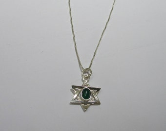 Sterling Silver Star of David Charm Necklace, Pretty and Simple Jewish Star Necklace, Star of David Pendant, Green Gemstone Star Pendant