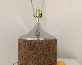 "CORK and CHROME LAMP Large, Mid Century Modern Lighting, 1970's, 23.5"" X 12"", Modern Lamp at Modern Logic"