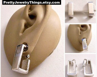 Square Wide Band Hoops Clip On Earings Silver Tone Vintage Avon 1976 Geometric Collection Wide Polished Band Open Dangles