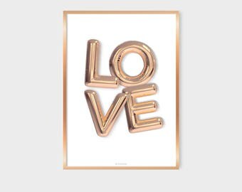 Rose Gold Letter Balloon, Love Poster, Wall Decor, Foil Effect Letters, Bedroom Decor, Love Print, Minimalist Poster Modern Scandinavian Art