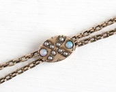 """Sale - Antique Slide Chain - 10k Gold Filled Opal Seed Pearl """"X"""" Slide Charm Necklace - Vintage Victorian Fob Pocket Watch Gemstone Jewelry"""