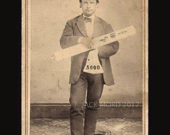 Intriguing 1860s Sacramento CDV Man Holding Map & Bag of Mining Gold?