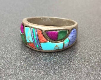 Sterling Silver Inlay Stone Ring with Turquoise, Opal, Lapis Lazuli, Spiny Oyster, Sugilite, and Malachite Ring, Size 6.5 Band
