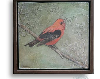 Framed Original Acrylic Bird Painting, Wildlife Art, Bird Art, Square 12 x 12 Wall Art, Pictures of Birds, Original Acrylic Painting