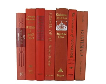 Orange Vintage Book Lot, Vintage Wedding Decor , Vintage Book Decor , Home Decor , Photo Prop , Bookshelf Decor