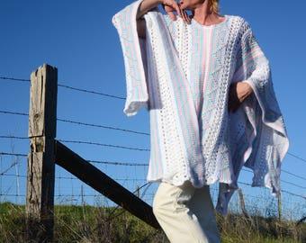 Crochet Poncho Psychedelic Baby Blanket Upcycle