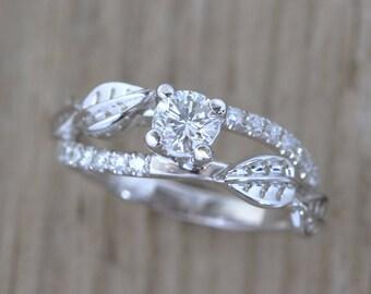 Nature Engagement Ring, Twig Engagement Ring, Nature Ring, Leaves Ring, Vine Ring, Antique Engagement Ring, Nature inspired Ring, Botanical