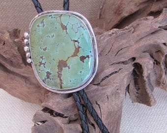 Vintage 70s Turquoise Bolo Tie   Large Turquoise Stone   Sterling Silver   Native American   Rockabilly, Western, Boho, Biker