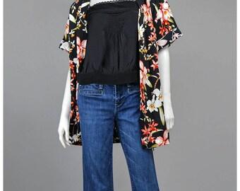80s Hawaiian Shirt - Tropical Print Floral Shirt - Oversize Boxy Button Down Short Sleeve Summer Shirt - Tiki Party Luau Shirt L/XL