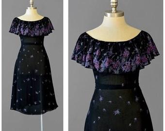 Vintage 70s Party Dress | Black Floral Dress | 30s Style Chiffon Dress | Off Shoulder Fit & Flare Dress | Flutter Sleeve Dress | XS S Small