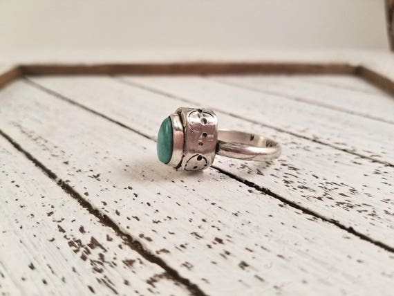 SALE - Handmade Silver Hollowform Fox Turquoise Ring, Turquoise Statement Ring