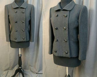 1950s Vintage Wool Ben Zuckerman New York Coat for B. Altman  50s Double Breasted Cropped Peacoat in Gray wool - Size 6 -  Women's