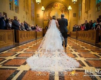 SALE - 3D Flower Petal Veil Cathedral Length