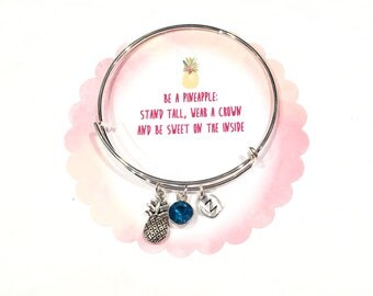 PIneapple Bracelet, Pineapple Bangle Bracelet, Silver Pineapple Charm Bangle, Personalized Pineapple Gift, Pineapple Birthday Gift For Her