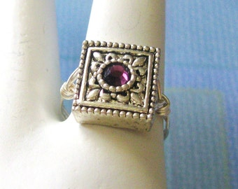 Amethyst Swarovski Crystal Ring, Wire Wrapped Size 6 Ring, Teen Girl Sterling Silver Ring, Handmade Ring, Novelty Ring, Matching Bracelet