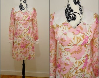 Retro Chic VINTAGE 1960s Pink White Flower Peter Pan Collar Mod Mini Dress UK10 FR 38/ Dollybird / Floral / GoGo /Romantic