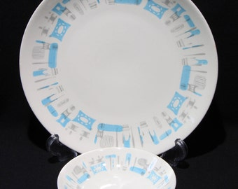 2 Piece Set Royal China Blue Heaven Dinner Plate & and Bowl