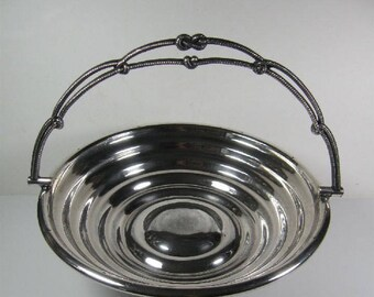 Antique Silver Plate with Rings & Pedestal Basket with Nautical Knotted Handle ~ Card ~ Serving ~ Bride's Bowl