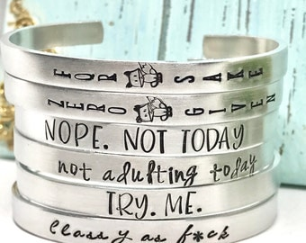 Adult Humor Cuff Bracelet - Funny Adult Saying on Cuff - HandStamped Cuff Bracelet - The Charmed Wife - White Elephant Gift - Christmas Gift