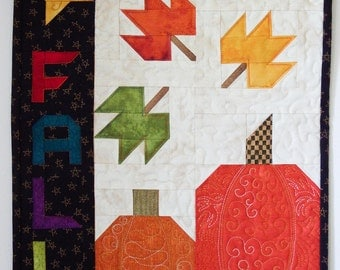 Quilted Fall Pumpkins Wall Hanging with Wire Hanger,  Small Quilt