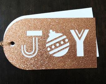 Christmas Gift Tags / Holiday Gift Tags / SET OF 8 Tags / Rose Gold & White Layers Included / Twine Included / Already Assembled