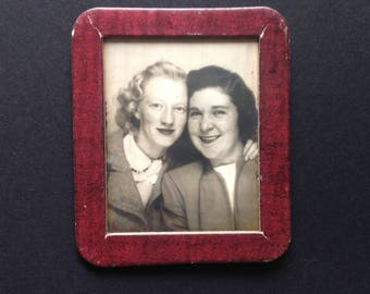"Vintage Photomatic Snapshot ""Girlfriends"" 1940s Forties Hairstyles Fashion Found Vernacular Photo"