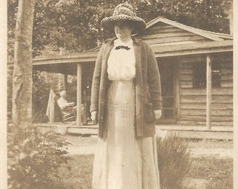 "Vintage Snapshot ""Braided Rug Hat"" Tall Sturdy Woman Rustic Cabin Found Vernacular Photo"