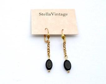Sevilla black and gold drop earrings