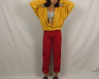 Vintage crop cardigan 90s mustard yellow cropped shirt