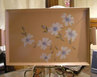 Tole tray Pink with white daisy and blue centers  rectangular serving tray breakfast service in bed,rolled under handle on each side