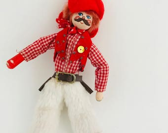 Cowboy Doll - Folk Art Cowboy Doll  - Wood and Cloth Western Doll with Red Plaid Gingham Shirt and Painted Face - Christmas Ornament