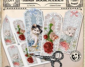 Printable BOOKMARKS Cliparts Victorian CAT Gift Tags Instant Download DIY Paper Crafts Digital Collage Sheet Printable Download Hang tag t13