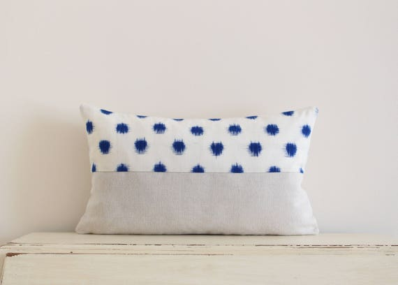 Limited edition ikat pillow cushion cover in denim blue and cream