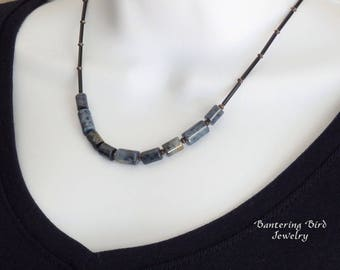 Dark Blue Stone Beaded Necklace, Adjustable Simple Everyday Layering Necklace, Dumortierite and Black Glass Beads, Unusual Gemstone Jewelry