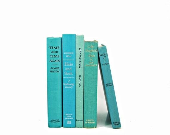 Aqua Green Decorative Books, Antique Ocean Book Set, Pastel BOok Decor, Wedding Decor, Old BOok collection, HOme Decor
