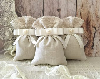 wedding favor bags, 10 linen and lace favor bags, wedding, bridal shower, baby shower.