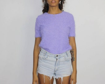 Violet Mini Sweater Clueless Top  Purple Shirt Blouse  Fuzzy Vintage Summer Small Medium Stretch 1990 90s Tee Polyester Made In Canada Lilac