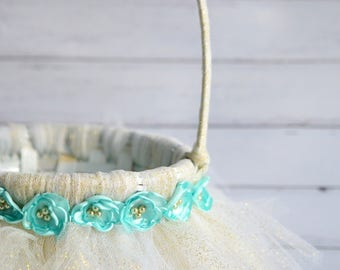 GOLD glitter flower girl basket with AQUA satin flowers and faux gold pearls, glitter tutu basket, beach wedding basket, made to order