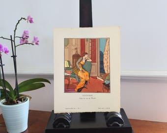 """French Pochoir Print by Louis Strimpl, """"Nocturne"""", 1913, La Gazette du Bon Ton, Art Deco, French Fashion, Worth evening dress, Hand-colored"""