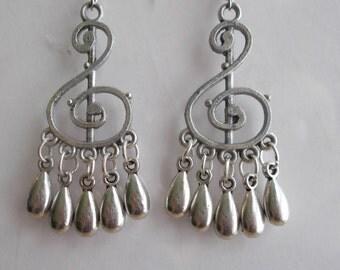 Silver Tone Music Note Chandelier Earrings with Silver Teardrop Bead Dangles