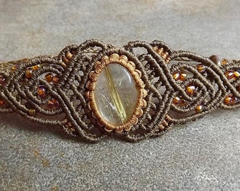 Macrame Bracelet, Gold Rutilated Quartz Bracelet with Brown Waxed Thread