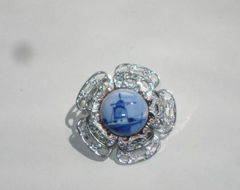 Delft Filigree Brooch - Blue and White Ceramic Flower Windmill Pin