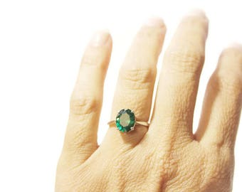 Emerald Ring, Simulated Emerald Set In Sterling Silver, Birthstone For May
