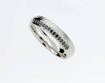 Size 5.5, Cresta ring with Black diamonds in white gold, matte, polished, modern eternity band, black diamond eternity ring, unique wedding